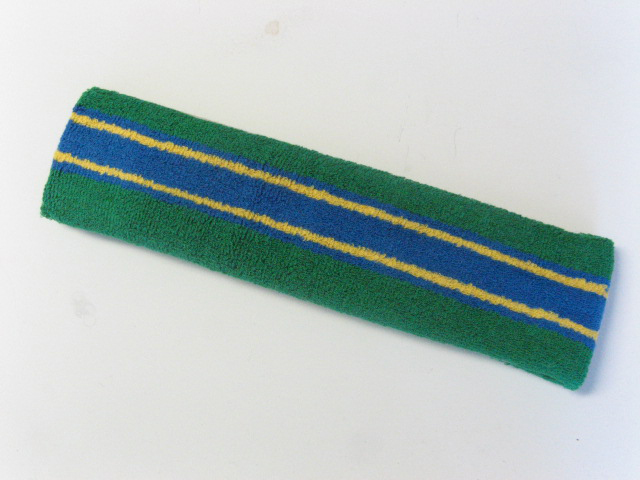 Large green with blue yellow striped head sweatband pro