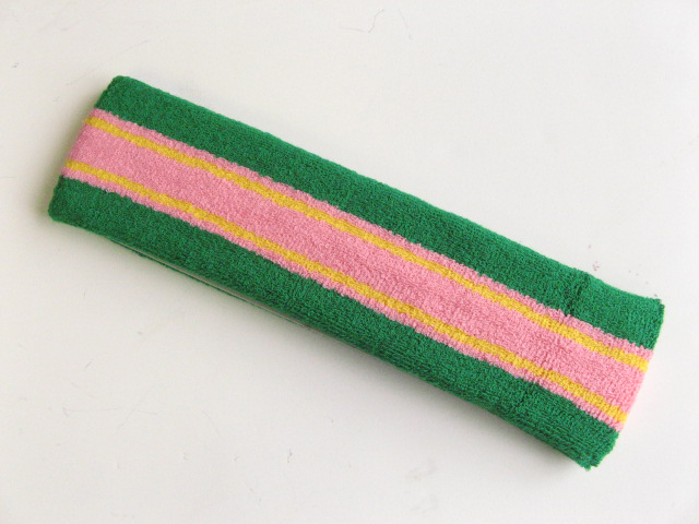 Large green with pink yellow striped head sweatband pro