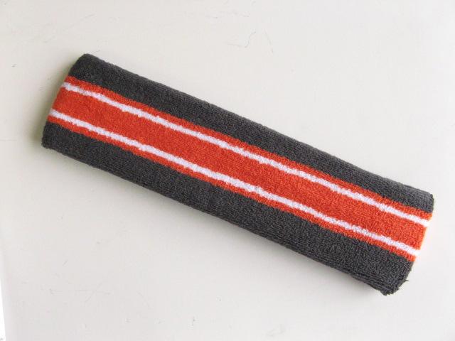 Large dark gray with dark orange white striped head sweatband pro