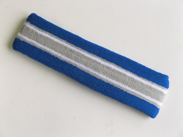 Large blue with gray white striped head sweatband pro