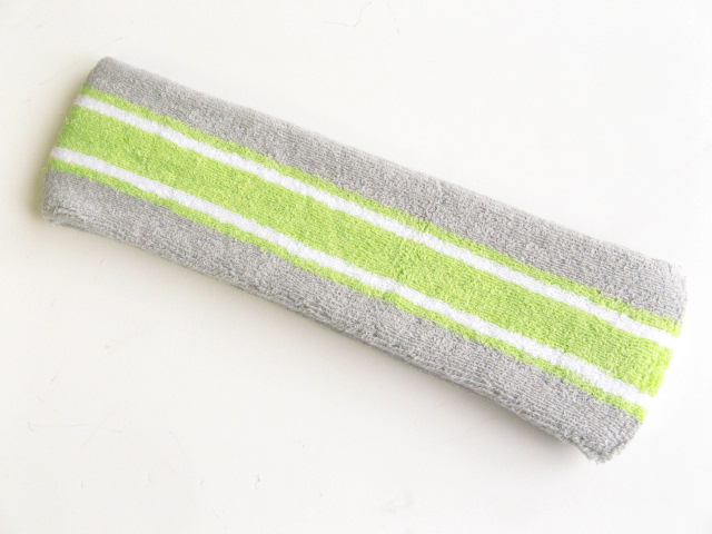 Large gray with lime green striped head sweatband pro