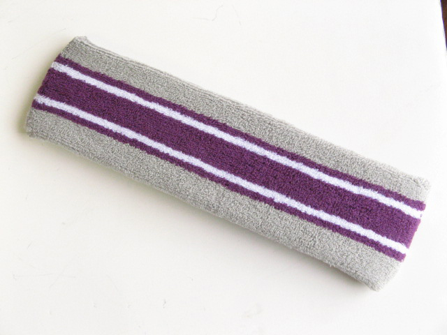 Large gray with purple white striped head sweatband pro
