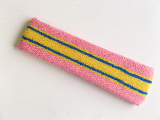 Large pink with yellow blue striped head sweatband pro