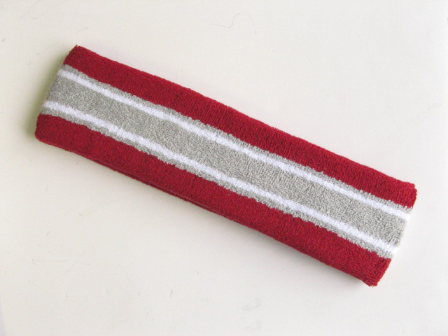 Large red with gray white striped head sweatband pro