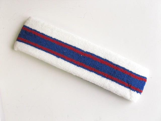 Large white with blue red striped head sweatband pro