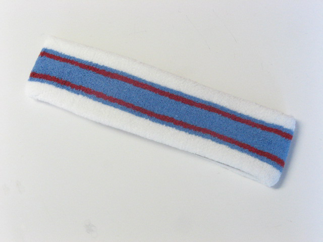 Large white with light blue red striped head sweatband pro