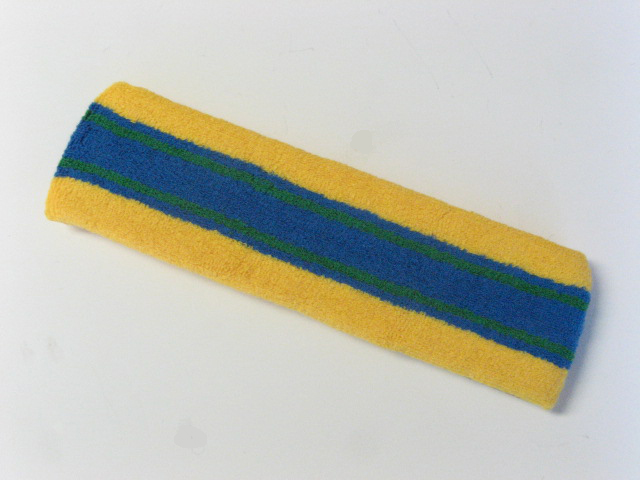 Large yellow with blue green striped head sweatband pro