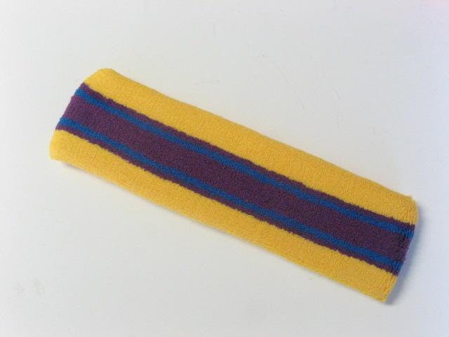 Large yellow with purple blue striped head sweatband pro