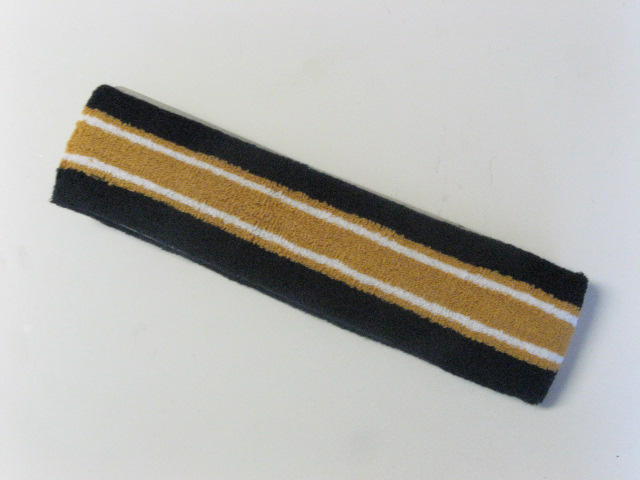 Large navy with gold white striped head sweatband pro