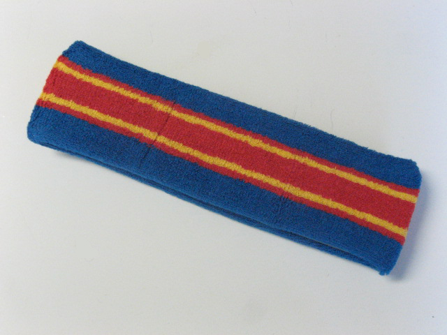 Large blue with red yellow striped head sweatband pro