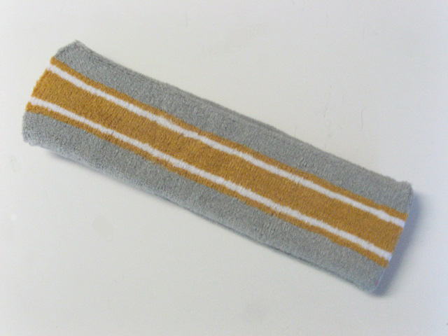 Large gray with gold white striped head sweatband pro