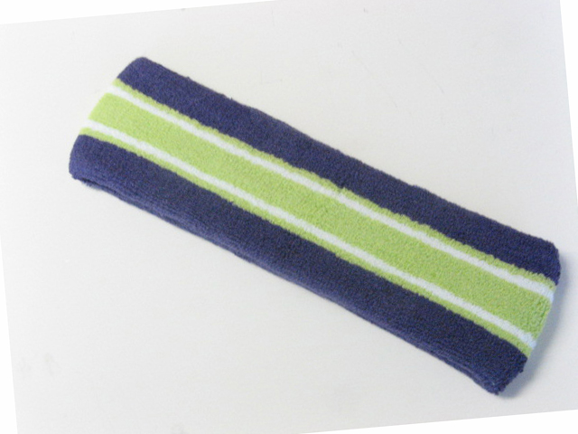 Large dark purple with lime green white striped head sweatband pro