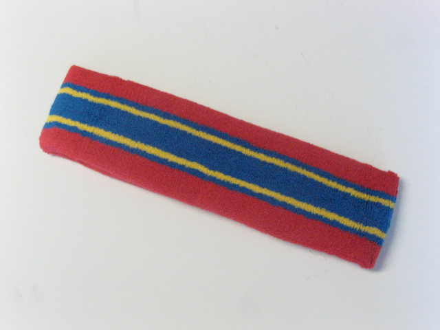 Large red with blue yellow striped head sweatband pro