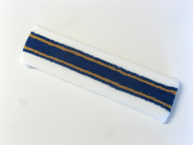 Large white with dark blue gold striped head sweatband pro