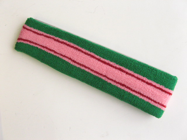 Large green with pink red gold striped head sweatband pro