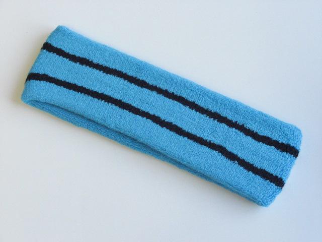 Sky Blue with Black stripe Large Basketball Head Sweatband