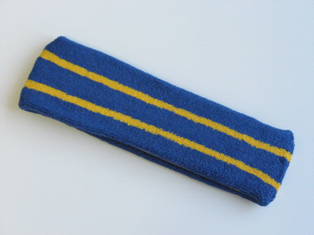 Blue with Yellow stripe Large Basketball Head Sweatband
