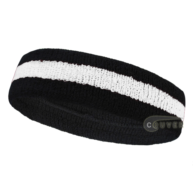 Wholesale black white 2color sports sweat headbands terry cloth