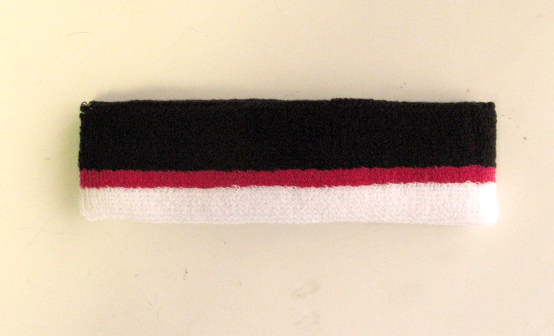 Black Hotpink White Stripe Terry Headbands Wholesale [12pieces]