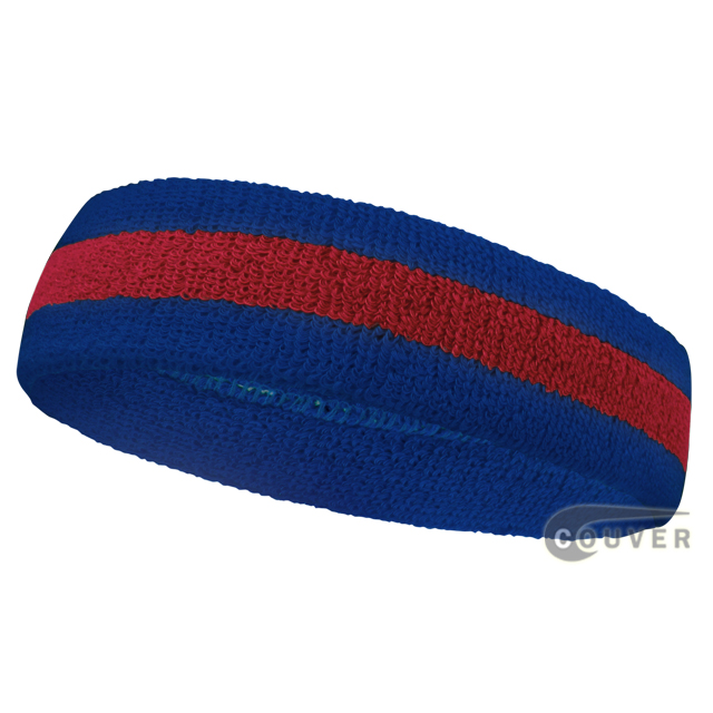 Blue Red Blue Striped Sweat Head band for Sports [12pieces]