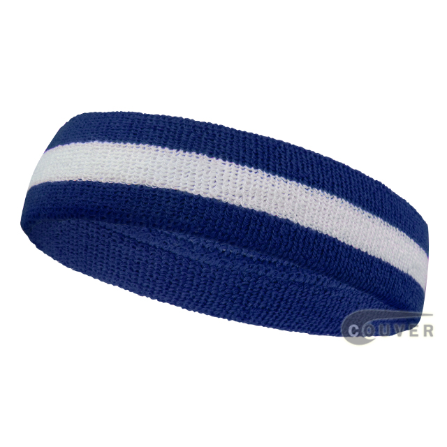 Blue white blue wholesale headband sweat 2color stripe
