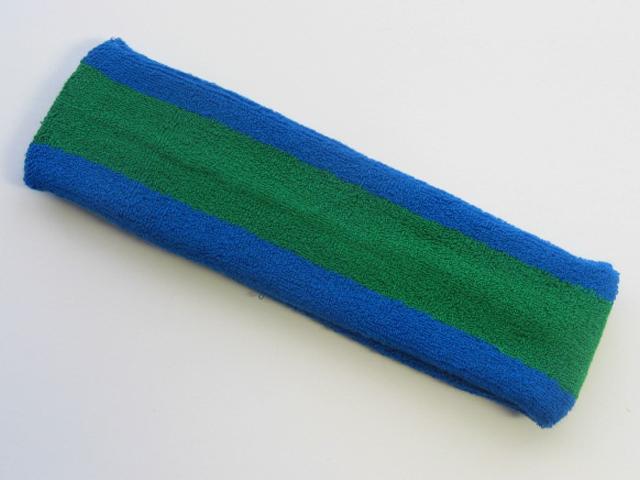 Green with Blue Trim Large Basketball Head Sweatband
