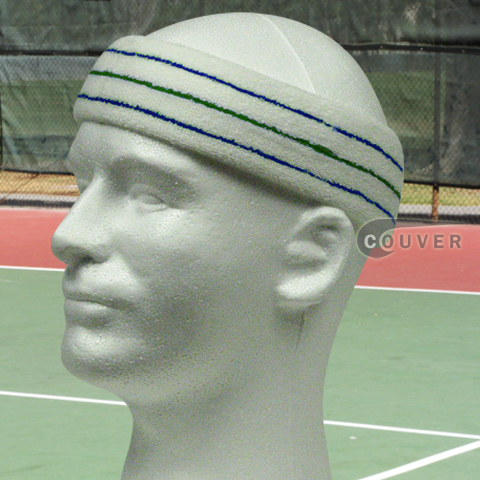 Blue Green Blue on White Large Tennis Head Sweatbands 3PC
