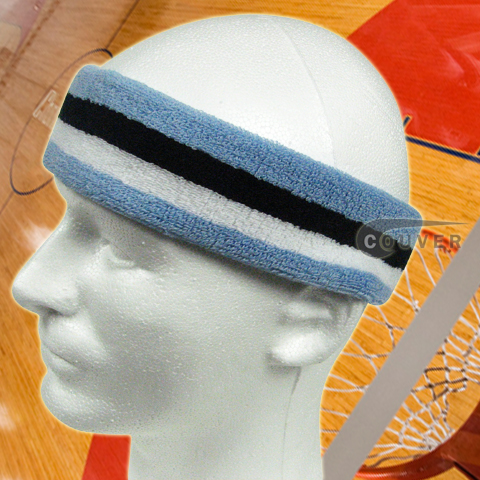 Carolina Blue White Black Long Basketball Head Sweatband Pro 2PC