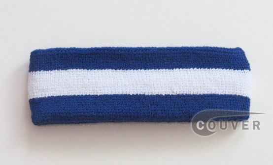 Couver Blue White Blue striped head sweatband HB85-WHT_BLE