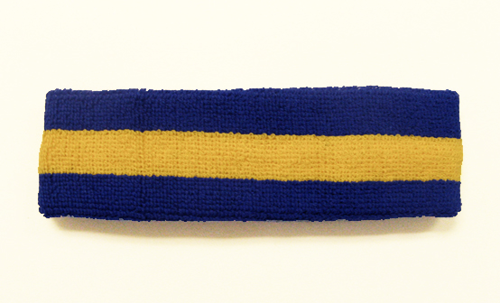 Blue Yellow Blue striped head sweatband HB85-YLW_BLE