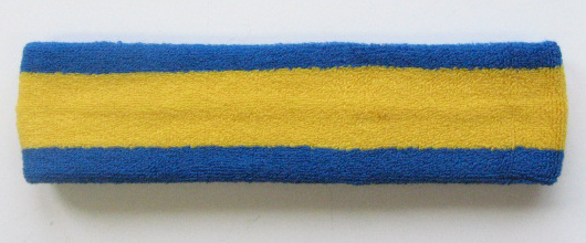 Yellow with Blue trim Large Basketball Head Sweatband