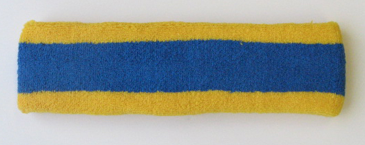Blue with Yellow trim Large Basketball Head Sweatband
