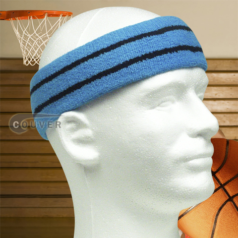 Thick Basketball Headband Pro Black Stripe in Sky Blue 3PCs