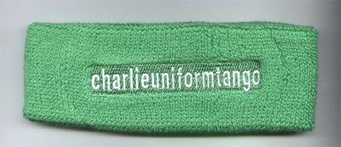 Bright green custom sports headband terry sample