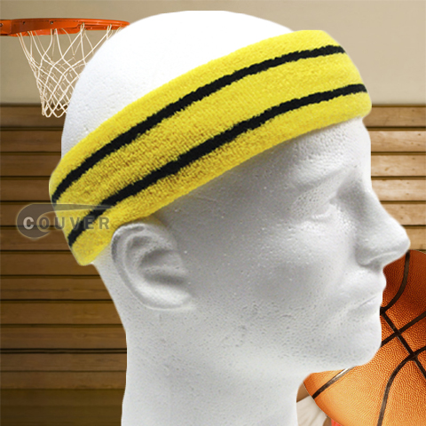 Basketball Sweat Headband Pro Black Stripe in Bright Yellow 3PCs