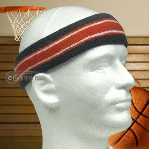 Basketball Headband Pro Multicolor Dark Gray Orange White 3PCS