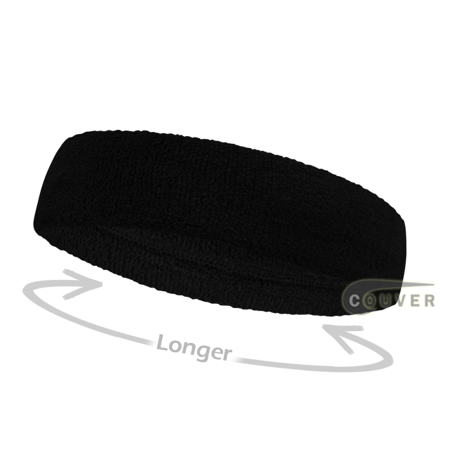 Black long terry headbands for sports [3pieces]