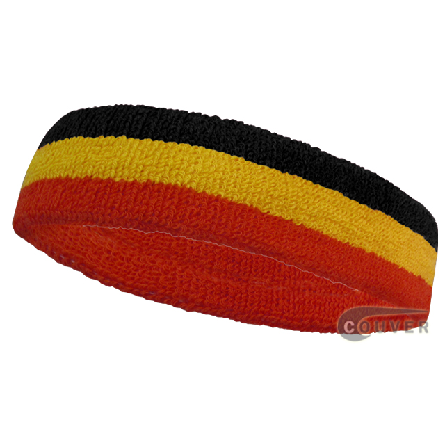 Black Golden Yellow Red Sports Head Sweatband