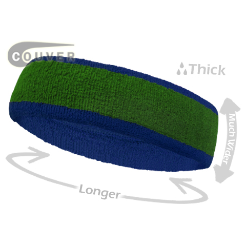 Green with Blue Large Basketball Head Sweatband 3PIECES
