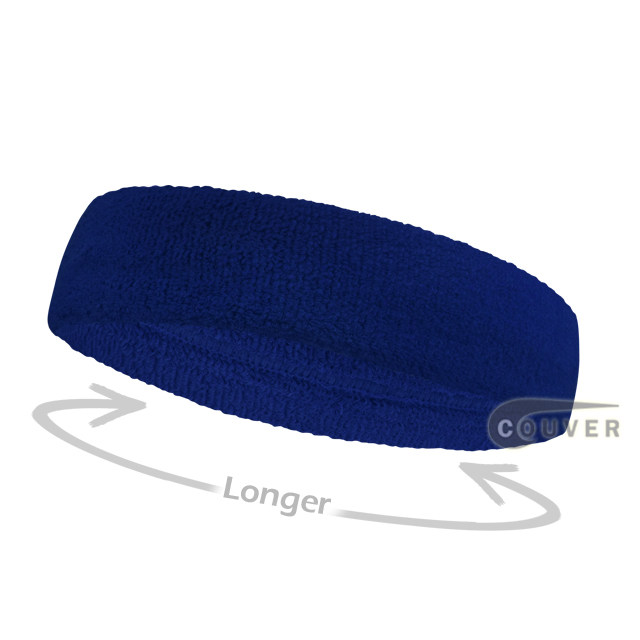 Blue long terry headbands for sports [3pieces]