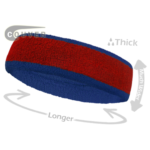Red with Blue Large Basketball Head Sweatband 3PIECES