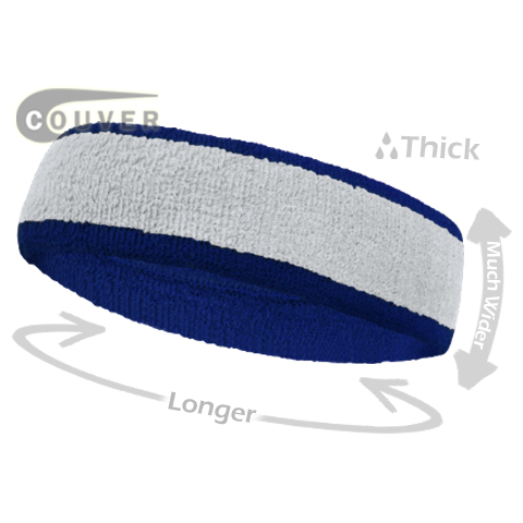 White with Blue Large Basketball Head Sweatband 3PIECES