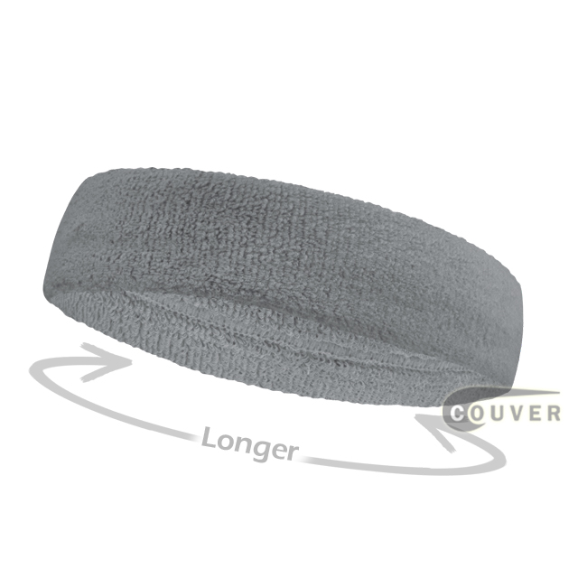 Silver light gray long terry headbands for sports [3pieces]