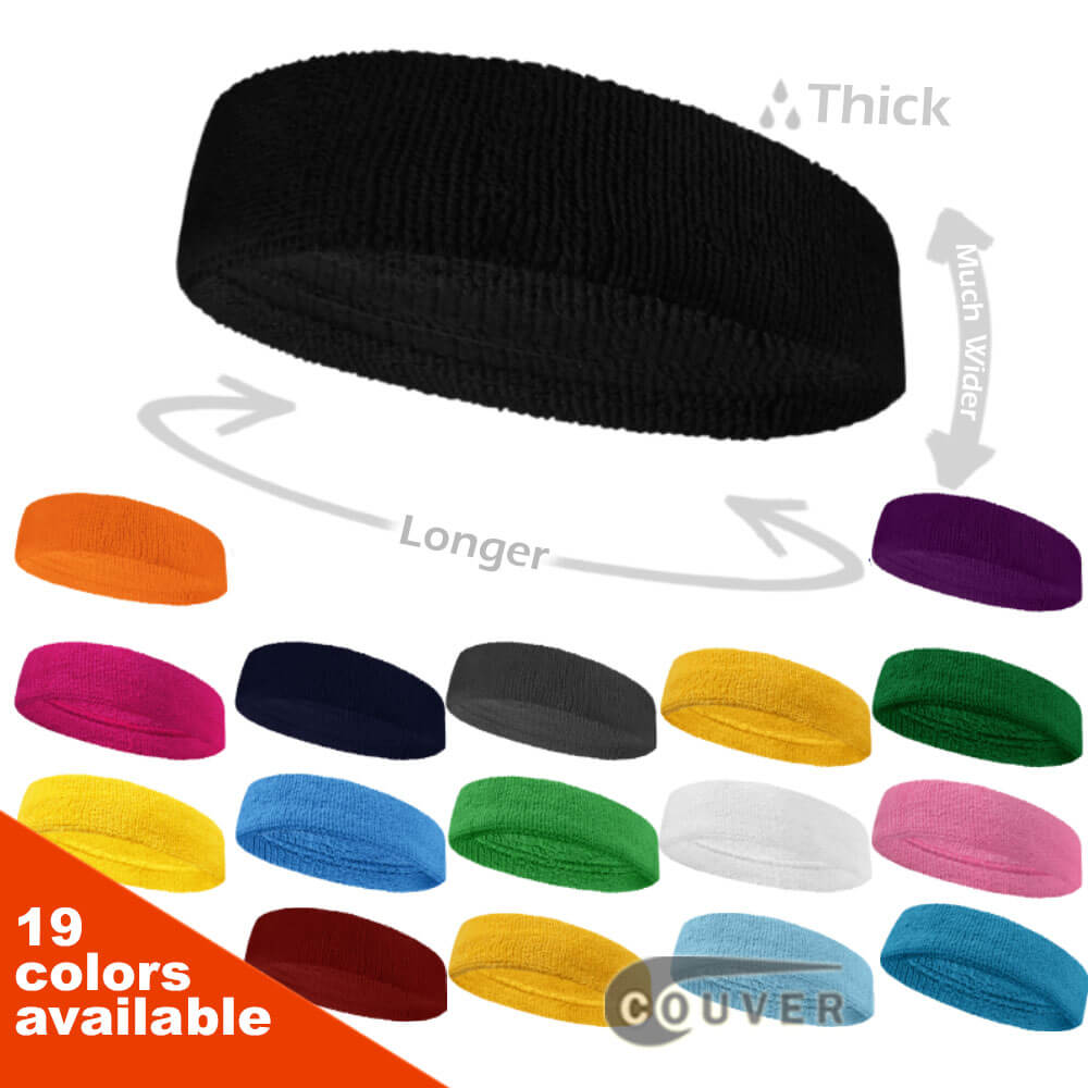 Couver Large & Thick Plain Color Basketball Head Sweatbands Pro 3PCs Set