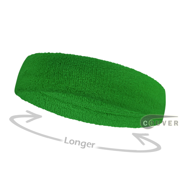 Bright green long terry headbands for sports [3pieces]