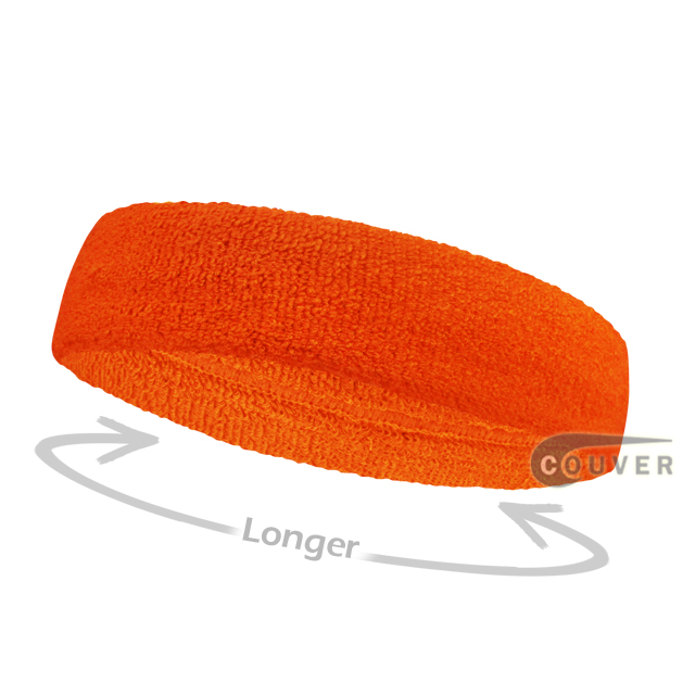 Dark Orange long terry headbands for sports [3pieces]