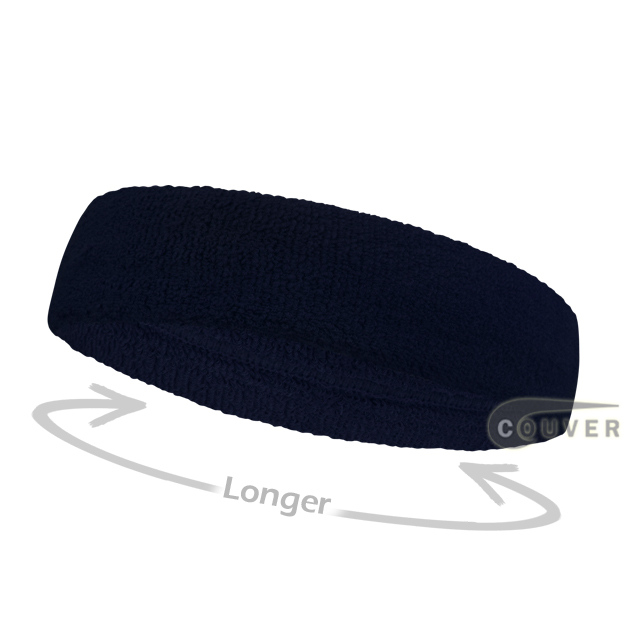Navy long terry headbands for sports [3pieces]