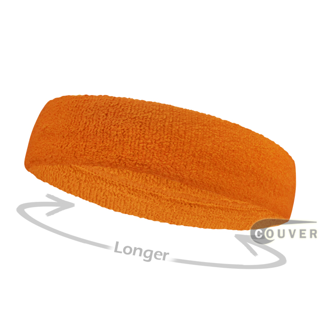 Orange long terry headbands for sports [3pieces]