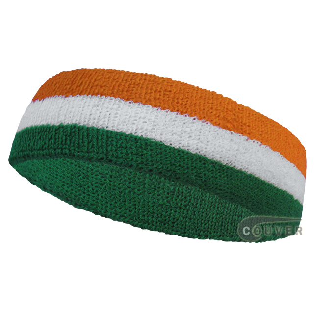 Green White Orange Stripe Head Sweatband Wholesale 12PIECES