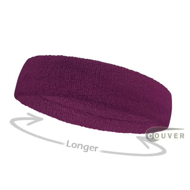 Purple long terry headbands for sports [3pieces]